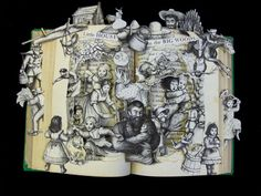 Artist Kelly Campbell Berry takes children's books and crafts intricate one-of-a-kind sculptures within their pages. Her collaged book sculptures are available to purchase at her Etsy shop, Artful Living.