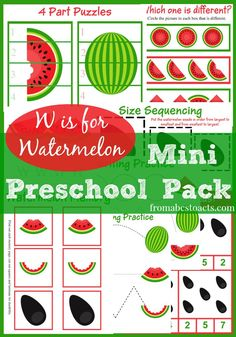 W is for Watermelon Mini Preschool Pack - From ABCs to ACTs