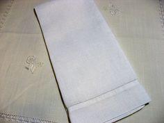 Vintage White Linen Tea Guest Hand Towel. 28x By VintageRoseTattoo