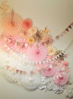 backdrop in pinks and white