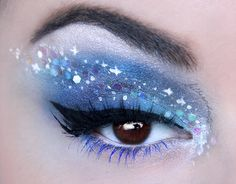This is such a stunning colour, love the blue and glitter makeup, Christmas, New Year or a starry night... #makeup #eyes #mascara #eyeshadow #lipstick # pretty
