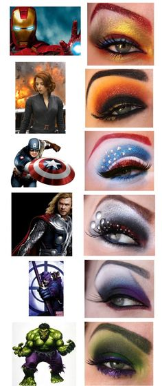 Avenger eye make up!! (i love this almost as much as the my little pony eye makeup i've previously posted!) captain amurrica for 4th of july anyone? =)