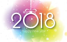 Download wallpapers Happy New Year 2018, abstract art, creative, Christmas 2018, New Year 2018, xmas, Christmas