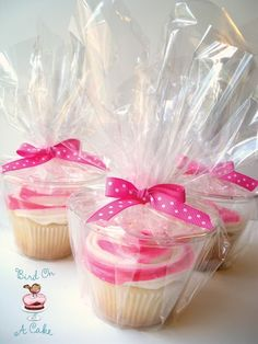 Use plastic cup & cellophane to wrap individual cupcakes as party favors. LOVE this!