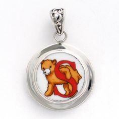 Broken China Jewelry Alphabet Bear Monogram Letter S Sterling Pendant