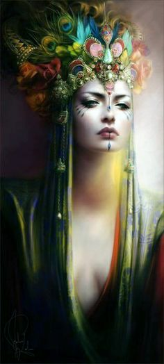 Melanie Delon - ooooh, that headdress! and the fierce looking face paint! this is fantasy art with a bit of attitude, very inspiring. Melanie Delon, Art Beauté, Royal Beauty, Fantasy Kunst, Foto Art, Inspirational Artwork, Gods And Goddesses, Beauty Art, Native American Indians