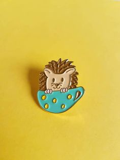 This is just the cutest pin! Cute hedgehog in a mug https://www.etsy.com/nl/listing/538422596/egel-in-theekopje-zacht-emaille-pins