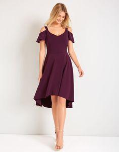 Cold Shoulder Dress in Purple   Bravissimo