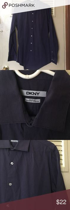 Purple DKNY Slim Fit Button Down Great condition! Slim fit natural stretch. Plum purple. Clear buttons. Soft. Dkny Shirts Casual Button Down Shirts