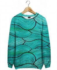 Sea Waves Pattern-All Over Print Sweatshirt