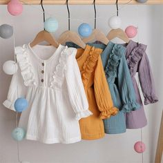 US Toddler Baby Girl Solid Clothes Long Sleeve Dress Skirt Cotton Linen Dresses Baby Girl Dress Patterns, Baby Clothes Patterns, Dresses Kids Girl, Cute Baby Clothes, Baby Girl Dress Design, Baby Girl Skirts, Muslin Dress, Linen Dresses, Ruffle Dress