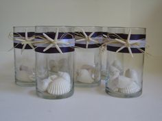 Set of 12 beach inspired glass vase centerpieces by KraftyCounsel, $148.00