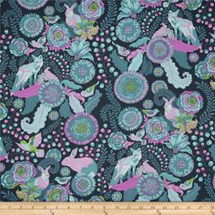 Tula Pink Fox Field Fox Trot Dusk from @fabricdotcom  Designed by Tula Pink for Free Spirit, this cotton print is perfect for quilting, apparel and home decor accents.  Colors include aqua, teal, pink, lime, orchid and white.