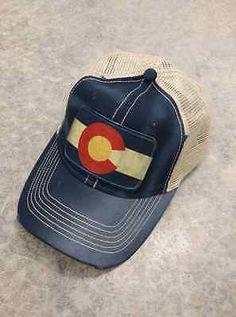 Colorado Flag Distressed Trucker Baseball Cap Navy Blue