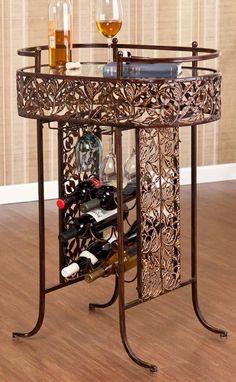 Transitional Brown Wine Rack