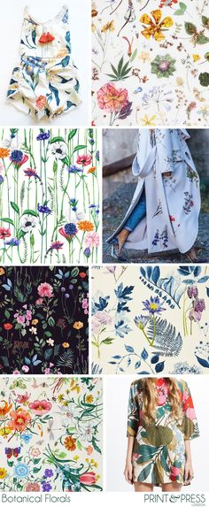 Botanical Florals Inspiration Moodboard | Floral Pattern Designs | Botanical Illustrations Trend Board