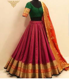 - Source by lillysherratt - Indian Fashion Dresses, Indian Bridal Outfits, Indian Gowns Dresses, Indian Bridal Fashion, Dress Indian Style, Indian Designer Outfits, Designer Lehnga Choli, Lehenga Saree Design, Half Saree Lehenga