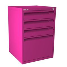 This pretty fuchsia filing cabinet is the Bisley F Series Four Drawer Filing Cabinet. It has three stationery drawers and one foolscap filing drawer. Drawer Filing Cabinet, Home Storage Solutions, Organizing Your Home, Locker Storage, Drawers, Organization, Home Decor, Getting Organized, Organisation