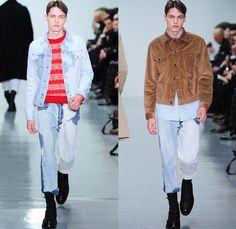 Lou Dalton 2014-2015 Fall Autumn Winter Mens Runway Looks Fashion - London Collections - Retro Faded Acid Wash Denim Jeans Cow Pattern Truck...