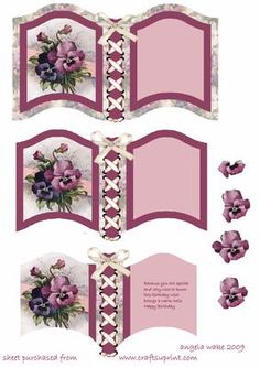 Pancy s for your birthday on Craftsuprint designed by Angela Wake - Another book to make up into a lovely card with and inserted verse and topper to add - Now available for download!