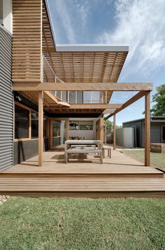 Zen Architects were hired to design a rear addition to a home in Melbourne's West Brunswick.  A period home in Melbourne, named the Nest House, was extended to include an open living space and mezzanine, along with a partially covered outdoor space.