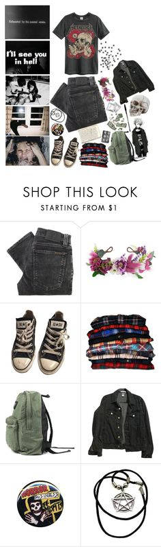 """""Voices, In my head again. Trapped in a war inside my own skin."""" by unholy-soul ❤ liked on Polyvore featuring Nudie Jeans Co., Rock 'N Rose, Converse, Chantelle and American Apparel"