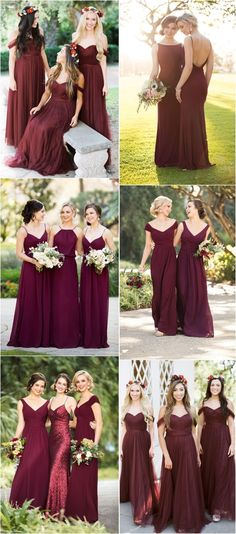 Burgundy bridesmaid dresses#weddings #dresses #weddingideas #bridesmaids #red ❤️ http://www.deerpearlflowers.com/bridesmaid-dress-trends-for-2018/