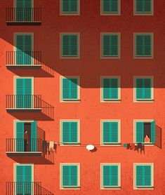 Italian orange and green building with people, summer sun and laundry. Flat design drawing illustration with colors. Shop this poster, art print or frame for your wall in your home decoration by Art And Illustration, Building Illustration, Wallpaper Paisajes, Inspiration Artistique, New Retro Wave, Posca Art, Caricature, Framed Art Prints, Illustrators