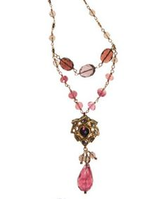 """18K, Cranberry Tourmaline and Diamond Paisley on Cranberry Tourmaline and Smoky Topaz on gold filled chain. Necklace length 18 1/2""""-29 """" inches. Pendent length 2"""" inch. Pendent width 3/4"""" inch. Lobster clasp. Made in USA.  www.thesagelifestyle.com"""