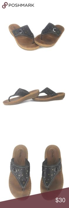 29e0e8c613877 Clarks Womens Flip Flop Thong Sandals Leather Clarks Womens Flip Flop Thong Sandals  Leather Perforated Studed