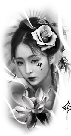 Geisha Tattoo Design, Clock Tattoo Design, Realistic Owl Tattoo, Photoshop Tattoo, Half Sleeve Tattoos Drawings, Simple Tattoos For Guys, Girl Face Tattoo, Statue Tattoo, Samurai Artwork