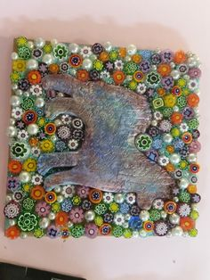 Joy--What makes me happy--dogs, mosaics, millefiori.  All here in one place. 4 x 4 Artist Card  Materials:  Polymer clay, glass millefiori.