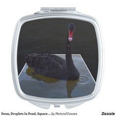 #swan, Droplets In Pond, Square #compact Mirror. Makeup Mirror