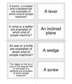 Simple Machines Flash Cards