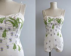 Vintage 1950s Embroidered White One Piece Bathing Suit Lavender and Green Floral - Ceeb  of Miami