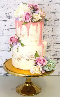 Pretty Parties - Custom Cakes N-55 Naked Cake www.prettyparties.net.au Unique Wedding Cakes, Wedding Cake Designs, Wedding Ideas, Buttercream Decorating, Cake Decorating, Ice Cake, Drip Cakes, Beautiful Cakes, Amazing Cakes