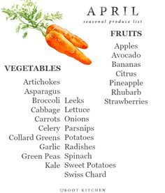 April Seasonal Produce List | uprootkitchen.com