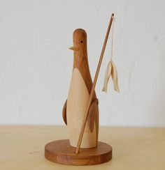 ❄ Penguin Yen ❄ Fishing Penguin by Soetacraft Wooden Figurines, Wooden Ornaments, Wooden Dolls, Wooden Bird, Wooden Decor, Modern Toys, Wood Turning Projects, Wood Projects, Toddler Toys