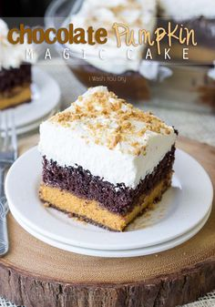 Chocolate Pumpkin Magic Cake- I couldn't believe what happened when it baked! And the frosting is divine!