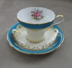 ★ ORNATE AYNSLEY TURQUOISE & GOLD CORSET SHAPE TEA CUP & SAUCER~FANCY FLORAL