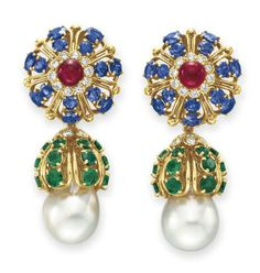 A PAIR OF DIAMOND AND MULTI-GEM EAR PENDANTS, BY DAVID WEBB  Each suspending a detachable circular-cut emerald and diamond pendant, set with a cultured pearl, measuring approximately 14.50 mm, to the surmount set with a cabochon ruby, within a circular-cut diamond and sapphire surround, mounted in 18k gold