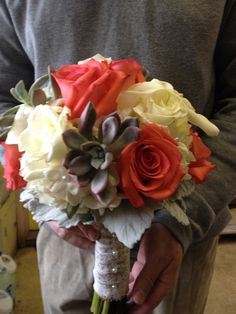 Bridal Bouquet of Salmon Roses, White Roses, White Calla Lilies, Succulents, White Hydrangeas and Dusty Miller.
