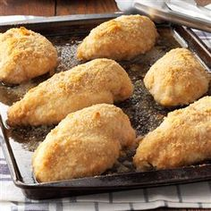 Parmesan Chicken Recipe -The savory coating on this chicken has the satisfying flavor of Parmesan cheese. It's easy enough to be a family weekday meal yet impressive enough to serve to guests. When I make this chicken for dinner, we never have leftovers. -Schelby Thompson, Camden Wyoming, Delaware