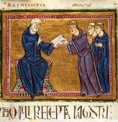 St. Benedict delivers his Rule to St. Maurus and other monks of the Benedictine order. Illumination by an unknown artist from a manuscript produced at the Monastery of St. Gilles, Nîmes, France, in 1129.