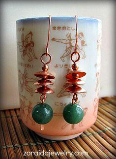 Green Jade and Copper Pagoda Earrings  by Zoraida, $35.00 USD