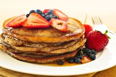 Strawberry and Blueberry Buckwheat Pancakes: A simple berry pancake with health benefits for the start of your day.