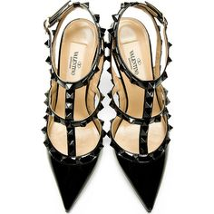 Valentino All-Black Patent Rockstud Slingback Heels (15 010 ZAR) ❤ liked on Polyvore featuring shoes, pumps, heels, high heels, zapatos, black t strap pumps, pointy-toe pumps, black high heel pumps, black pumps and black slingback pumps