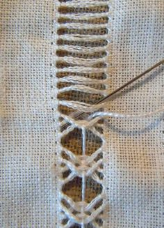Weaving lacy inserts in a shawl or scarf.