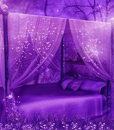 19 Beautiful Canopy Beds That Will Create A Majestic Ambiance To Any Small Space Bedroom Purple Home, Purple Stuff, All Things Purple, Shades Of Purple, Deep Purple, Purple Satin, 50 Shades, My New Room, My Room