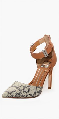 Dolce Vita Footwear - Kana Pump with Ankle Strap- Natural Snake